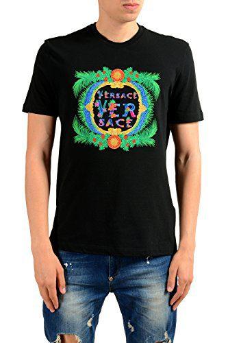 Versace Men's Embroidered Black Crewneck T-Shirt Size US M IT 50