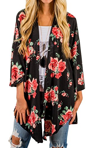 Hibluco Women's Casual Long Sleeve Floral Printed Open Cardigan Jacket Outwear (K1, XX-Large)