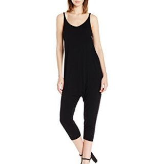 Enza Costa Women's Strappy Drop Rise Jumpsuit, Black, S