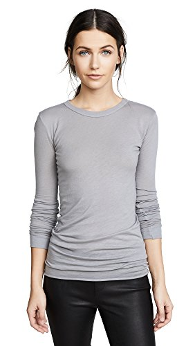 Enza Costa Women's Bold Long Sleeve Crew Neck Tee, Frost Grey, Small