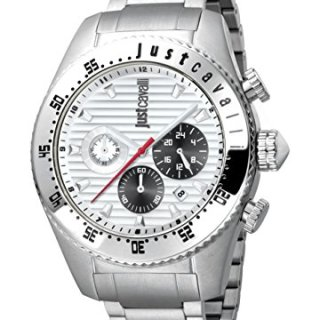 Just Cavalli Men's Sport Silver Dial with Silver Stainless-Steel Band Watch.