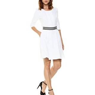 A|X Armani Exchange Women's 3/4 Sleeve Waistband Dress, White, 6