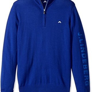 J.Lindeberg Men's Tour Merino Sweater, Strong Blue, XL