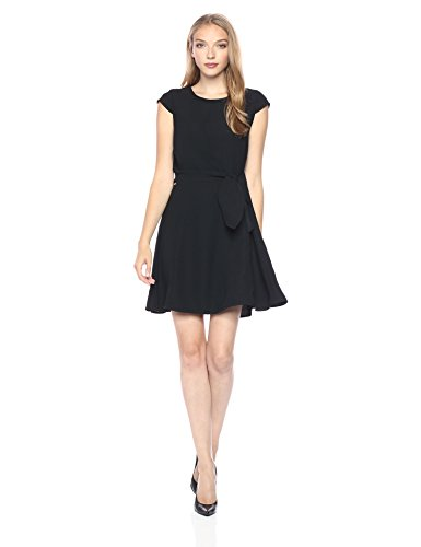 A|X Armani Exchange Women's Cap Sleeve Waist Tie Skater Dress, Black, 2