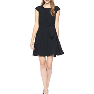 A|X Armani Exchange Women's Cap Sleeve Waist Tie Skater Dress, Black, 2
