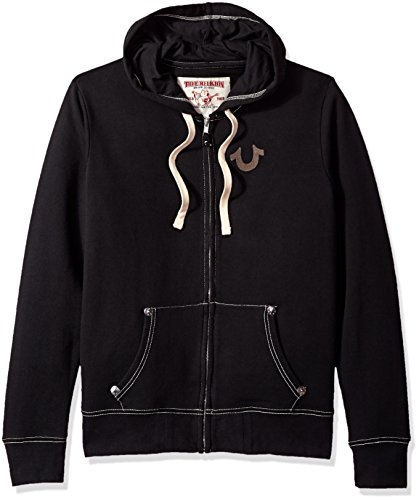 True Religion Men's Buddha Logo Zip Hoodie, Black, XXL
