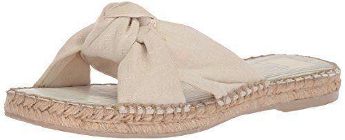 Dolce Vita Women's Benicia Slide Sandal, Off White Linen, 8.5 M US