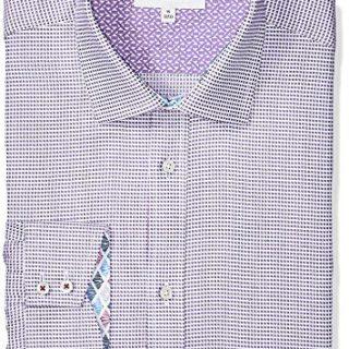 "Ted Baker Men's Giara Slim Fit Dress Shirt, Purple, 16.5"" Neck 34-35"" Sleeve"