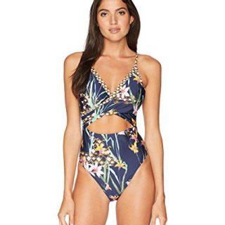 Trina Turk Women's Wrap Front Keyhole One Piece Swimsuit, Navy/Midnight/Fiji Floral Print, 10