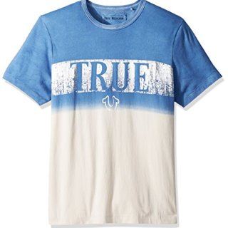 True Religion Men's Metallic Print Dip Dye Tee, Retro Blue, L
