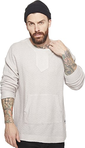 Publish Men's Nico Long Sleeve Knit Sweater w/Kangaroo Pocket Grey Medium