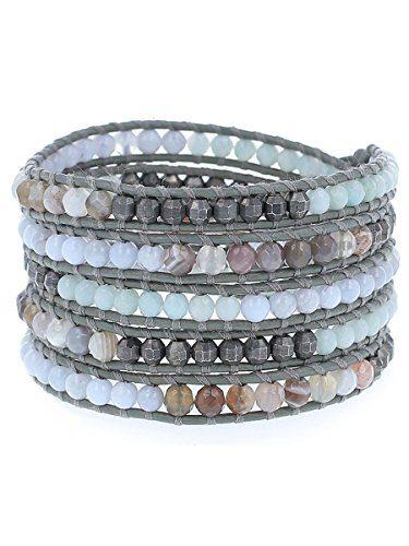 Chan Luu Amazonite Grey Mix of Semi Precious Stones Iceberg Leather Wrap Bracelet