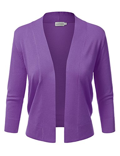 JJ Perfection Women's Basic 3/4 Sleeve Open Front Cropped Cardigan Ultraviolet M