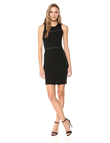A|X Armani Exchange Women's Sleeveless Work Dress with Piping, Black, M