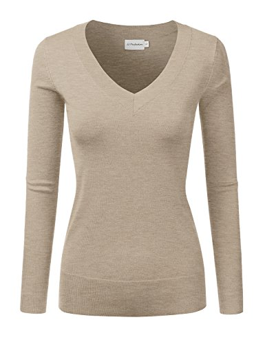 JJ Perfection Women's Simple V-Neck Pullover Soft Knit Sweater MELANGEKHAKI M