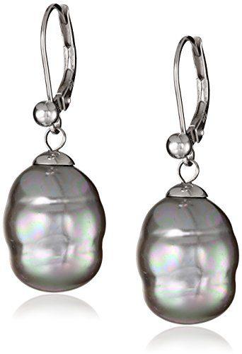 Majorica 12mm Grey Baroque Pearl Drop Sterling Silver Earrings