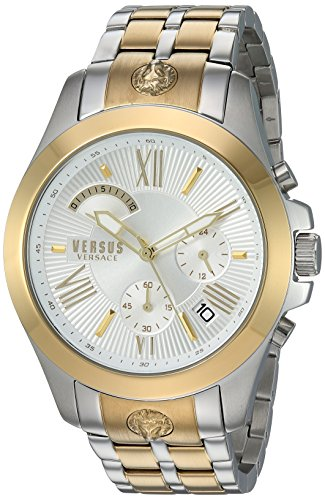 Versus by Versace Men's 'Chrono Lion Extension' Quartz Gold and Stainless Steel Watch, Color:Two Tone