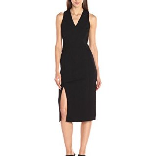 A X Armani Exchange Women's Pique Sleeveless Midi Dress, Black, Small