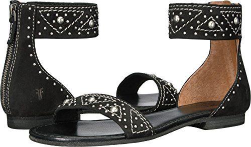 FRYE Women's Carson Deco Zip Flat Sandal, Black, 8 M US