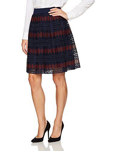 Trina Turk Women's Leland Diamond Lane Lace Skirt, Indigo/Currant, 12