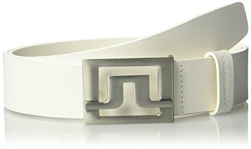 J.lindeberg Men's Slater 40 White Leather Belt, white, 100