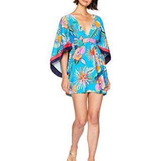 Trina Turk Women's V-Neck Tunic Dress, Tahiti Tropical/Pacific Blue, M