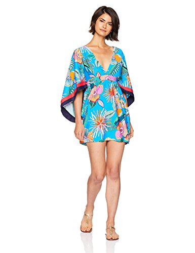 Trina Turk Women's V-Neck Tunic Dress, Tahiti Tropical/Pacific Blue, M