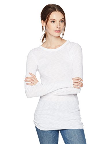 Enza Costa Women's Rib Cotton Slub Fitted Long Sleeve Crew, White, XS