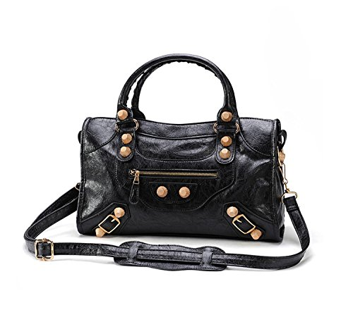 Gold-Tech Women Leather Big Gold Color Studed Motorcycle Bags 38cm Medium Size Shoulder Bag 2 Colors