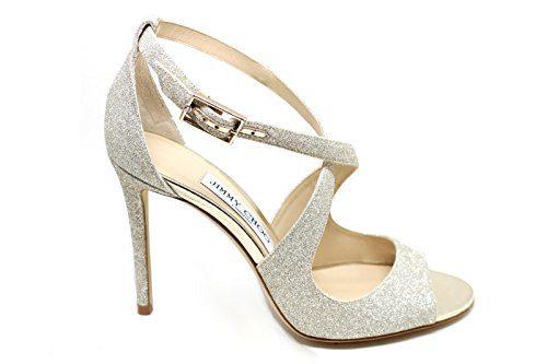 JIMMY CHOO Women's Emily100platino Gold Glitter Sandals