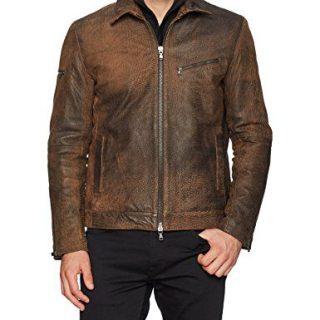 John Varvatos Men's Zip Front Leather Jacket, Caramel, XX-Large