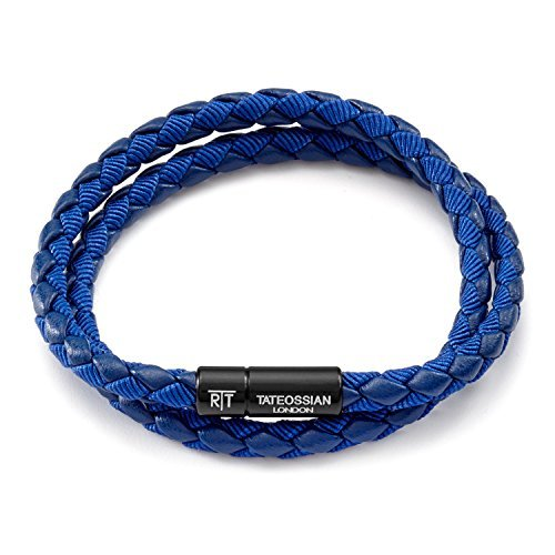 Tateossian Men's Chelsea Blue Italian Leather Bracelet, Large, 41.5 CM