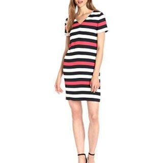 A|X Armani Exchange Women's V Neck Short Sleeve Tricolor Shift Dress, Stripe, 10