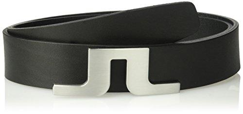 J.Lindeberg Men's Bridge Logo Leather Belt, Black, 85