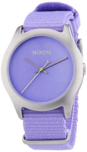 NIXON Women's Quartz Fabric/Canvas Casual Watch, Color:Pastel Purple