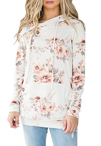 Relipop Woman's Fashion Floral Print Long Sleeve Pullover Hoodie Sweatshirts (Large, Type 7)