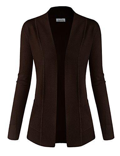 BIADANI Women Classic Soft Long Sleeve Open Front Cardigan Sweater Brown Medium