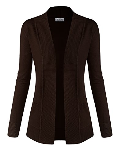 BIADANI Women Classic Soft Long Sleeve Open Front Cardigan Sweater Brown Medium