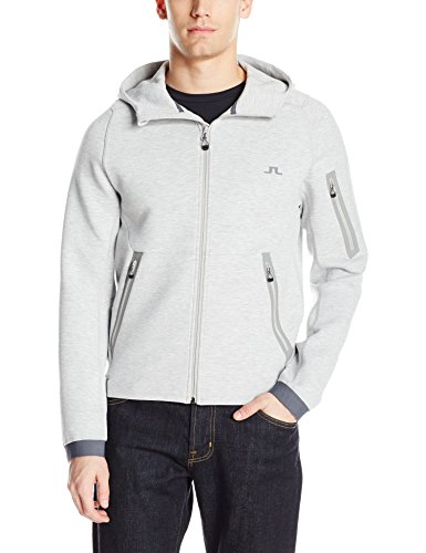 J.Lindeberg Men's M Athletic Hoodie Tech Sweat, Stone Grey Melange, L
