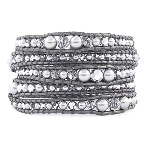 Chan Luu Grey Pearl Mix Graduated Wrap Bracelet on Grey Leather