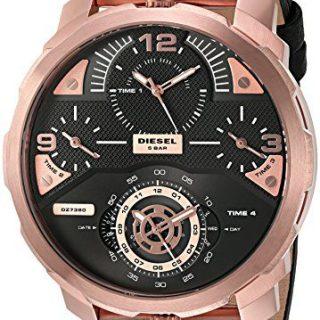 Diesel Men's Machinus Rose Gold Black Leather Watch