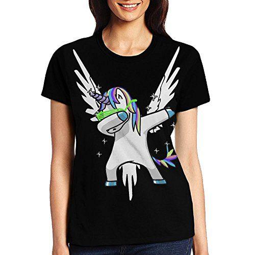 Most Fashion Maker Womens Black Tshirts Hip Hop Unicorn Dab Dance White Maverick Fly Wings Shirt