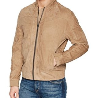 Robert Graham Men's Ramos Suede Bomber Jacket, Tan, Large