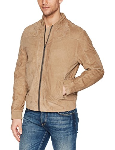 Robert Graham Men's Ramos Suede Bomber Jacket, Tan, Large
