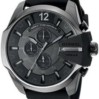 Diesel Men's Mega Chief Quartz Stainless Steel and Silcone Chronograph Watch, Color Grey, Black
