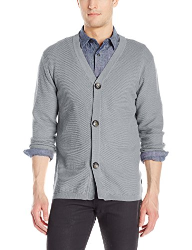 Publish Brand INC. Men's Aydyn Cardigan Sweater, Ash, Large
