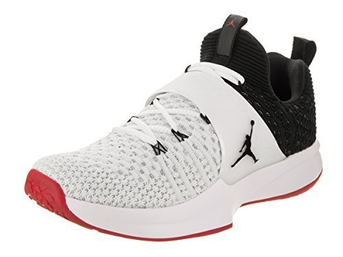 NIKE Jordan Trainer 2 Flyknit Mens Training Shoes White/Black-Black-Gym Red (10.5 D(M) US)