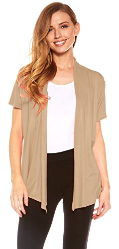 Red Hanger Cardigans for Women - Short Sleeve Womens Open Cardigan Sweaters (Taupe-M)