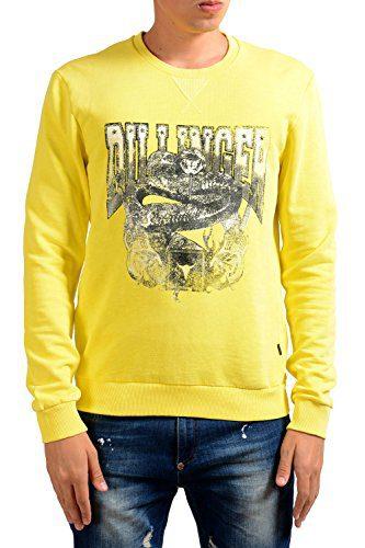 Just Cavalli Men's Yellow Graphic Long Sleeve Crewneck Sweatshirt US M IT 50