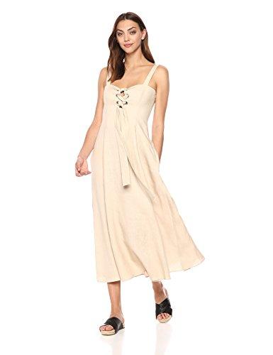 Mara Hoffman Women's Mei Lace up Tank Ankle Dress, Beige, 4